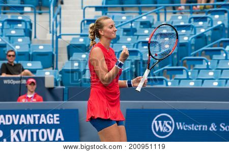 Mason Ohio - August 14 2017: Petra Kvitova in a first round match at the Western and Southern Open tennis tournament in Mason Ohio on August 14 2017.