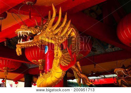 Golden Dragon On The Pole. Chinese Temple Tua Pek Kong. Miri City, Borneo, Sarawak, Malaysia