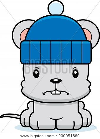 Cartoon Angry Winter Mouse