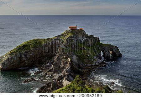 Gaztelugatxe is an islet on the coast of Biscay belonging to the municipality of Bermeo, Basque Country (Spain).