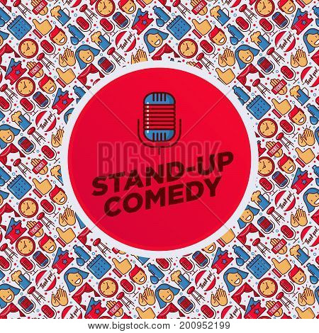 Stand up comedy show concept with thin line icons and microphone in the center. Vector illustration for banner, web page, print media.