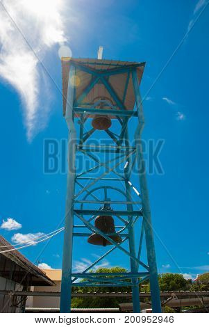 St. Joseph Cathedral. The Bell Tower Against The Sky. Miri City, Borneo, Sarawak, Malaysia