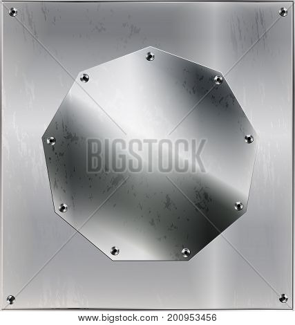 iron background metal stylized sheet with geometric figure polygon and holes