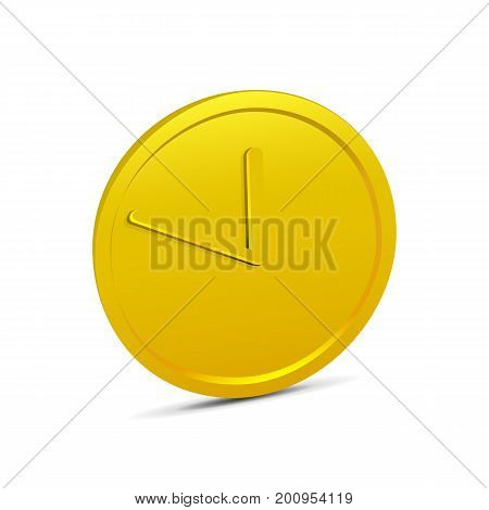Time is money. Coin isolated on white background. Realistic 3D gold coin icon. Vector illustration of coin with clock hands.