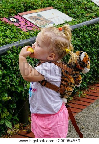 A Little Girl Playing At The Zoo In Singapore