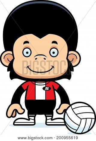 Cartoon Smiling Volleyball Player Chimpanzee