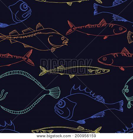 Seamless pattern of color sea fish on a black background. Perch cod scomber mackerel flounder saira. Vector doodle. Elements for your nature background