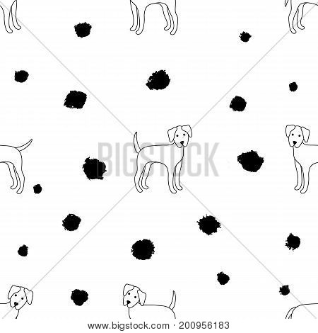 Seamless pattern of dogs on a white background. Dalmatian. Vector illustration. Great for web print home decor textile wallpaper invitation card.