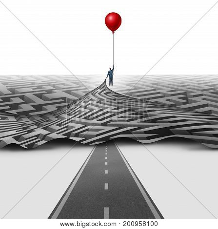 Simplify management solution concept as a businessman lifting open a maze clearing a pathway for a straight road as an access opportunity helped by skilled manager with 3D illustration elements.
