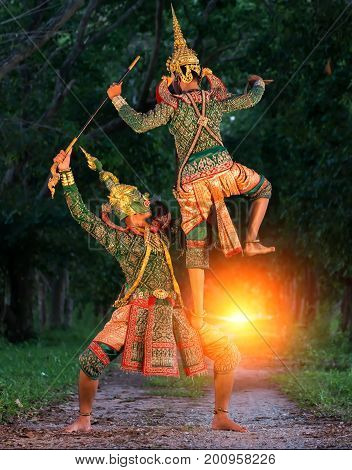 [KHON THAI] The pantomime (Khon) festival candles. Thai traditional dance of the Ramayana dance khon thailand drama in Wat Mahaeyong in Ayutthaya Thailand.