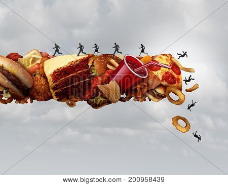 Junk food health risk nutrition concept as a group of people running and falling on a pile of high sugar sodium and cholesterol fat snacks as a diet metaphor for eating hazard with 3D illustration elements.