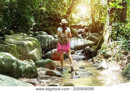 Travel asia woman standing on forest trail and looking away. Female with backpack on hike in nature. Travel Concept