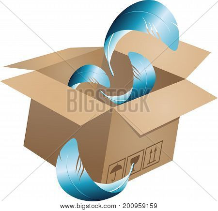 Blue bird feathers fly from open carton box. For business icons or other design. Vector illustration