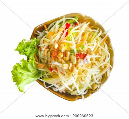 Thai food. Papaya salad or Som Tam isolated on white background. This has clipping path.