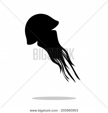 Medusa black silhouette aquatic animal. Vector Illustrator.
