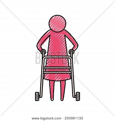 color crayon silhouette pictogram elderly woman in assistance walker vector illustration