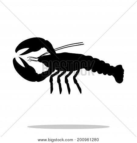 Crayfish black silhouette aquatic animal. Vector Illustrator.