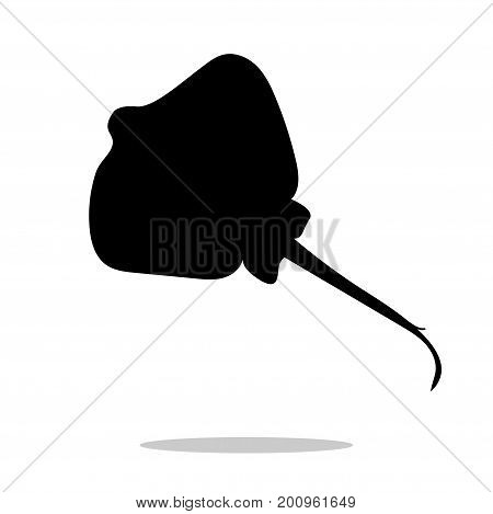 Stingray fish black silhouette aquatic animal. Vector Illustrator.