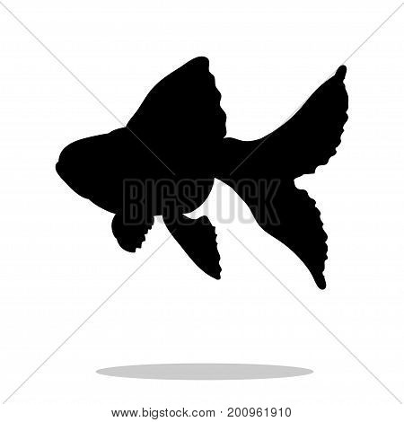 Goldfish fish black silhouette aquatic animal. Vector Illustrator.