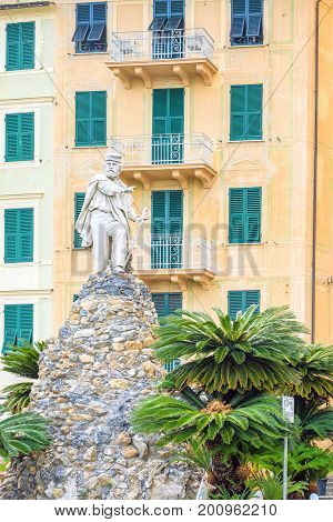 Daylight view to a statute of one of Italian King. Santa Margherita Ligure