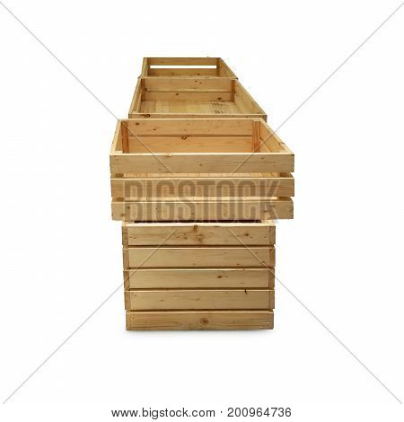 Wooden Crate Or Wooden Box Isolate On White Background