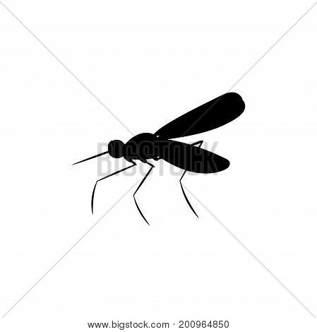Mosquito insect black silhouette animal. Vector Illustrator.