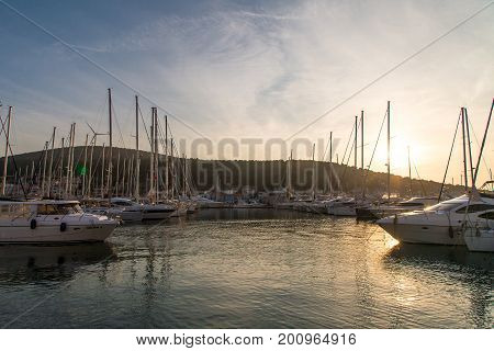 Sunset In Yacht Marina In Cesme
