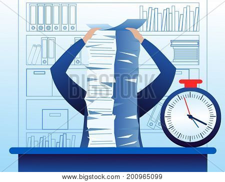 Vector illustration of confuse and busy businessman with a lot of work to do, lot of papers on the table. Stress situation business concept in flat cartoon style
