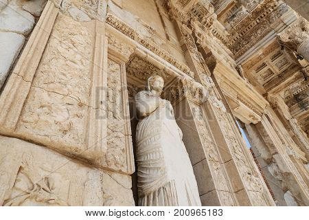 Personification of Virtue Arete Statue in Ephesus Ancient City Izmir Turkey poster