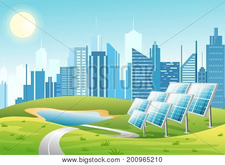 Vector illustration of solar power panels with sun and urban city skyscrapers skyline on green turquoise background. Eco green city theme. Ecological energy concept in flat cartoon style