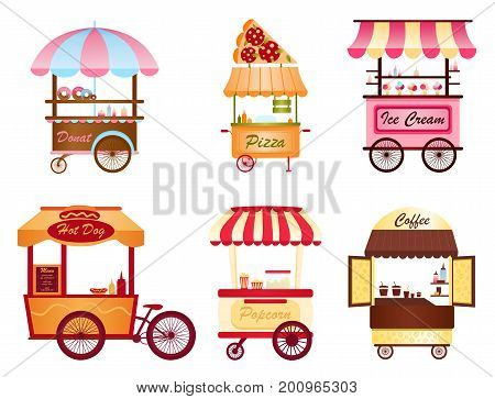 Creative vector illustration of street coffee cart, popcorn and hot dog shop, pizza, ice cream and donut shop set on white background in cartoon flat style