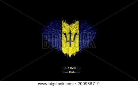 The Heart of Barbados Flag abstract background.