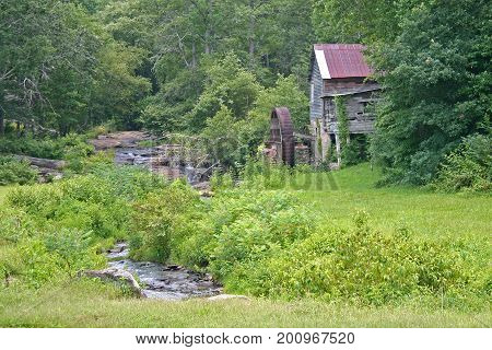 an old abandoned gristmill between a creek and deep woods