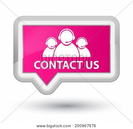 Contact Us (customer Care Team Icon) Prime Pink Banner Button