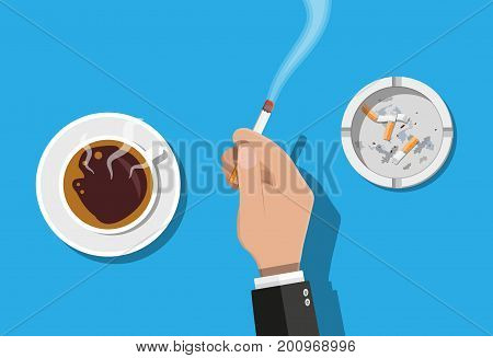Coffee cup and ashtray full of smokes cigarettes. Hand with lit cigarette. Unhealthy lifestyle. Vector illustration in flat style