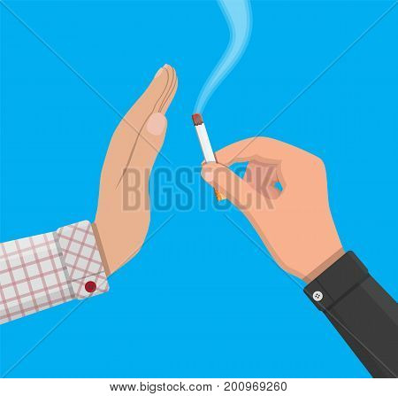 Tobacco abuse concept. Hand gives cigarette to other hand. No smoking. Rejection, proposal smoke. Vector illustration in flat style.