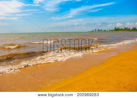 Calm And Relaxing Panorama View Of Soft Sea Water Surface And Fantastic Clouds Cape At South China S