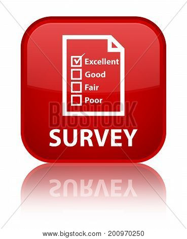 Survey (questionnaire Icon) Special Red Square Button