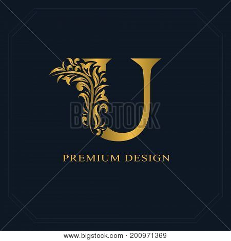 Gold Elegant Letter U. Graceful Style. Calligraphic Beautiful Logo. Vintage Drawn Emblem For Book De