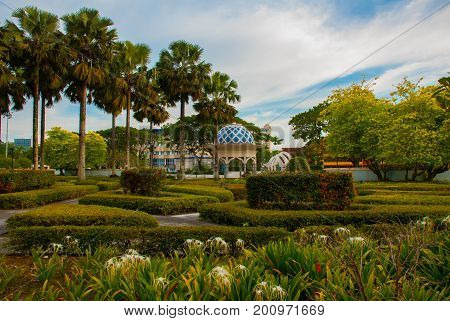 Pavilion And Trees With Bushes. Miri City Fan Park, Borneo, Sarawak, Malaysia