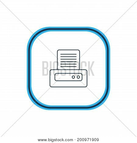Beautiful Computer Element Also Can Be Used As Printer Element.  Vector Illustration Of Printout Outline.
