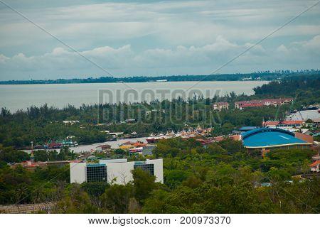 Landscape View Of The City From Above. Miri City, Borneo, Sarawak, Malaysia
