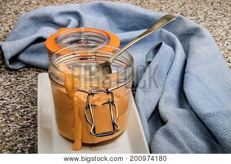 seafood sauce in a glass and spoon