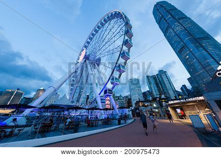 Blue Hour Scene Of Hong Kong Cityscape At Central Pier