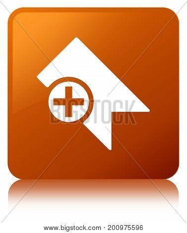 Bookmark Icon Brown Square Button