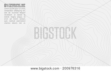 Topographic map background with space for copy . Line topography map contour background , geographic grid abstract vector illustration . Mountain trail over terrain .