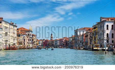 Panoramic view of the Grand Canal in Venice, Italy. Grand Canal is one of the major water-traffic corridors in Venice. 16:9 widescreen.