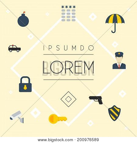 Flat Icons Parasol, Camera, Padlock And Other Vector Elements