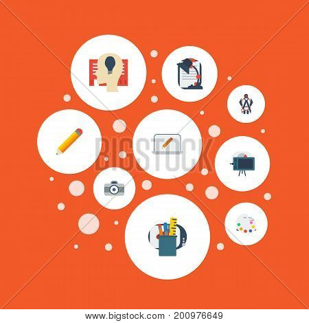 Flat Icons Screen, Gadget, Pen And Other Vector Elements