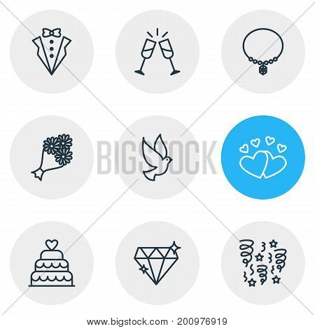Editable Pack Of Bridal Bouquet, Decoration, Jewelry And Other Elements.  Vector Illustration Of 9 Wedding Icons.